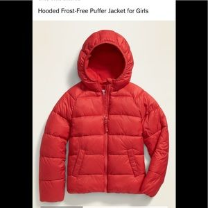 Old navy hooded frost free puffer jacket coat girl
